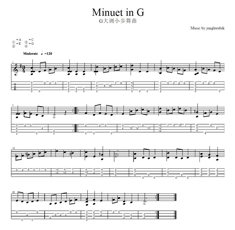 小步舞曲尤里克克曲谱-G大调 小步舞曲 指弹谱
