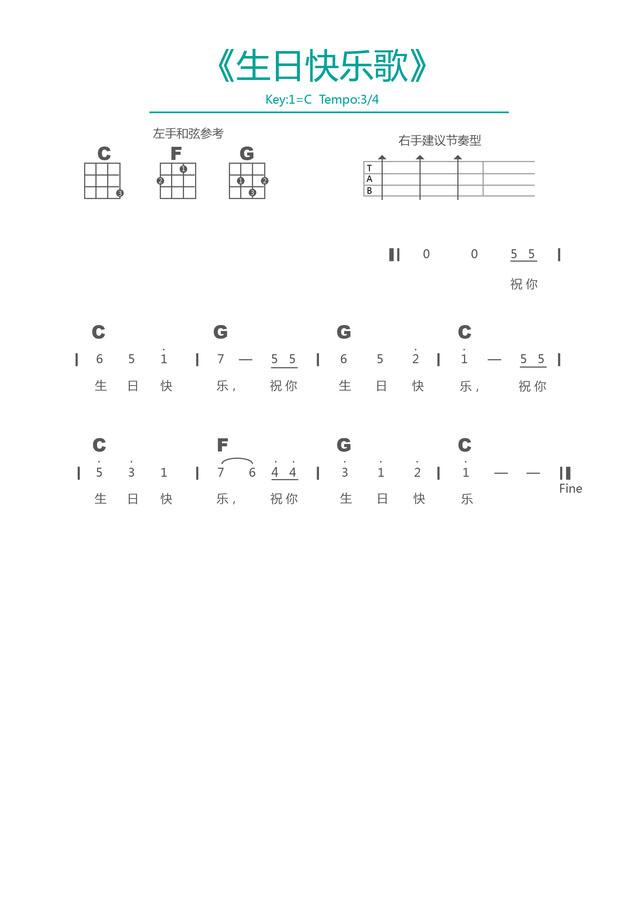 生日快乐歌 尤克里里弹唱谱 超级简单 1分钟学会