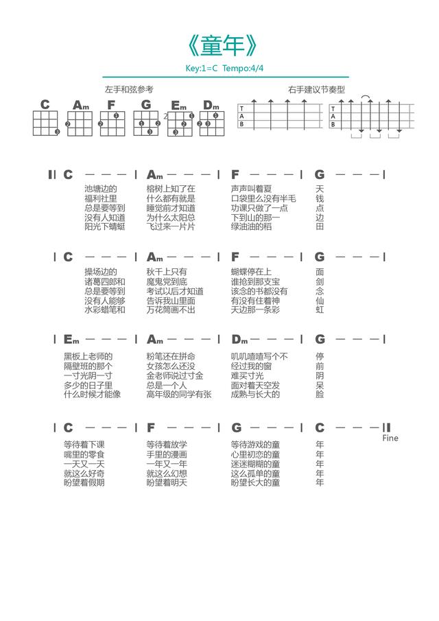 童年尤克里里和弦谱_童年(罗大佑)尤克里里谱|一起Ukulele尤克里里