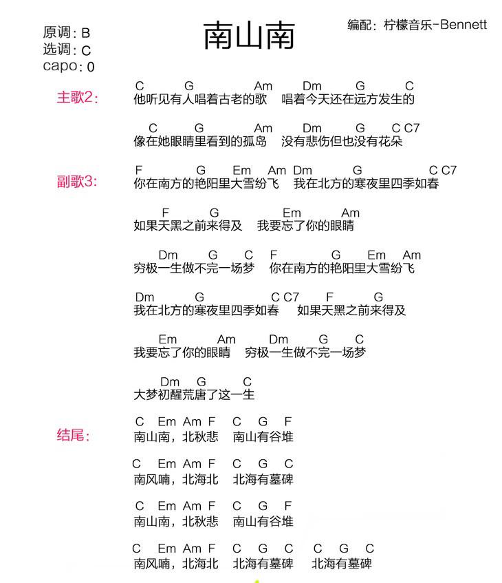 南山南 马頔 ukulele谱 cover by 柠檬音乐