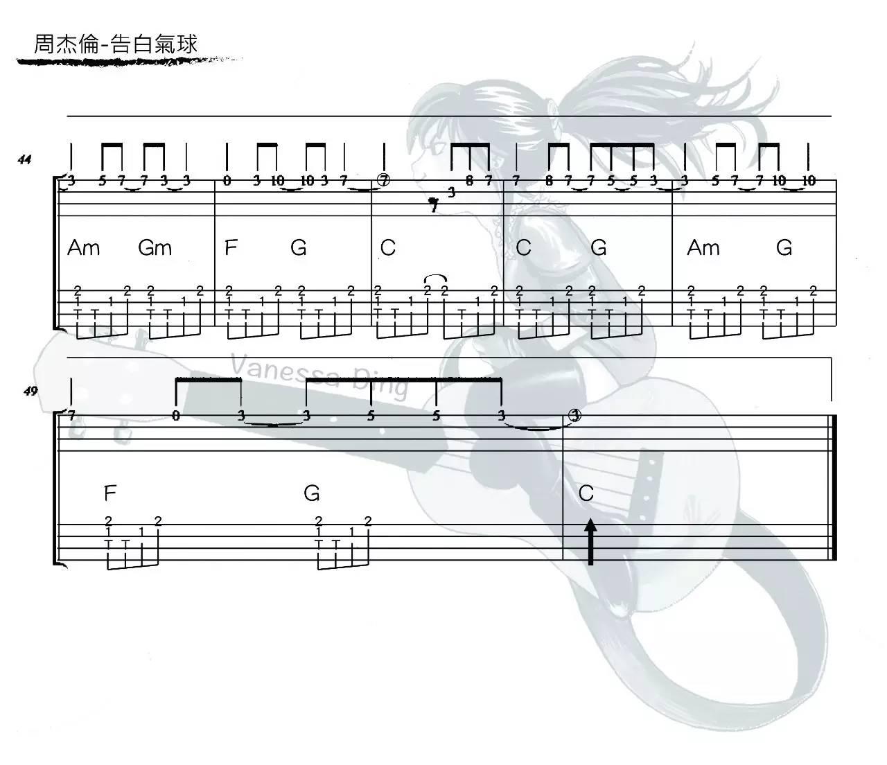 告白气球 - 丁霜语 指弹ukulele谱