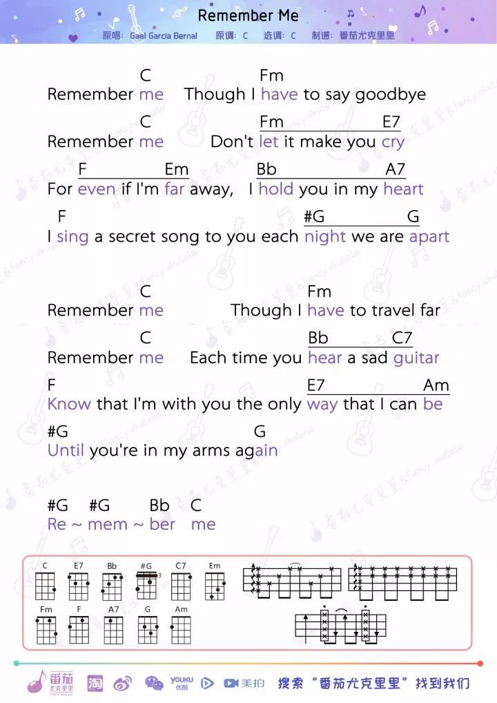 指弹曲谱:   而COCO(太奶奶) 这首《Remember Me》是由曾经