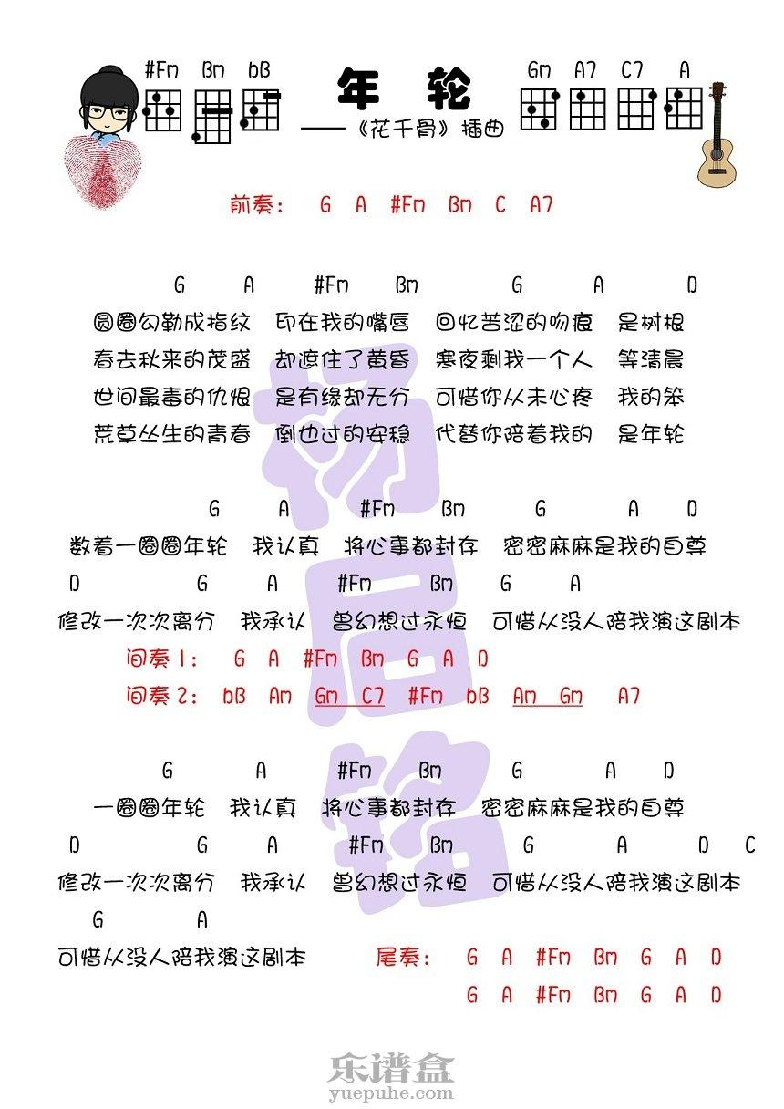 年轮-张碧晨/汪苏泷《花千骨》插曲 尤克里里曲谱